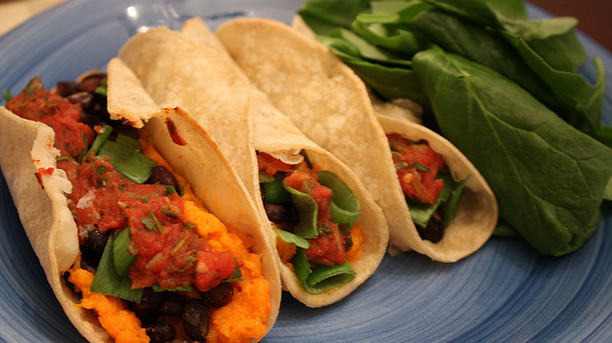 Honey-Lemon, Sweet Potato, Corn, & Black Bean Tacos